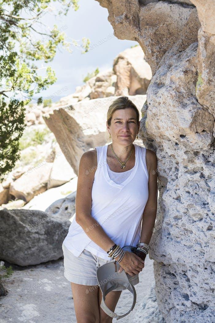 40'S woman hiker, Tsankawi Ruins, NM
