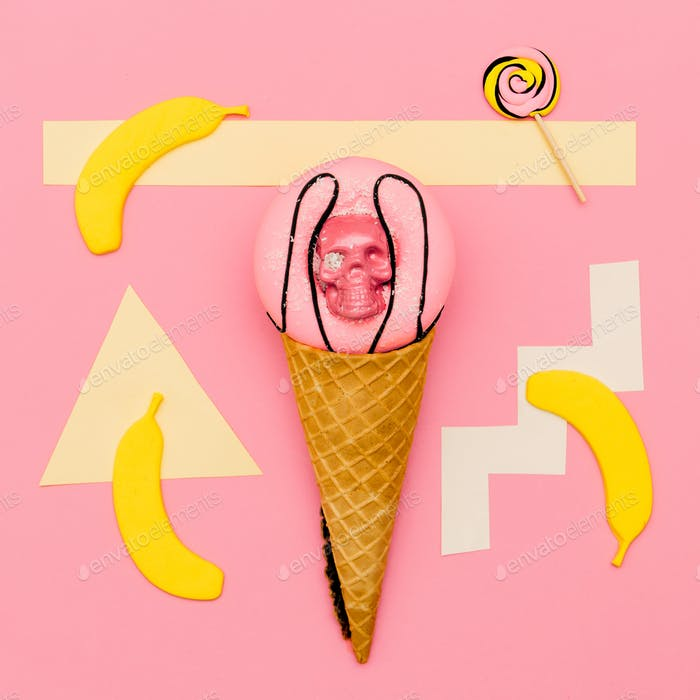 Sweet mix. Scull fashion Donut. Candy Minimal Flatlay art.