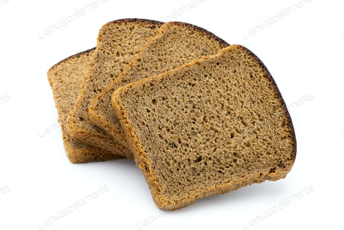 Dark rue bread on a white background.