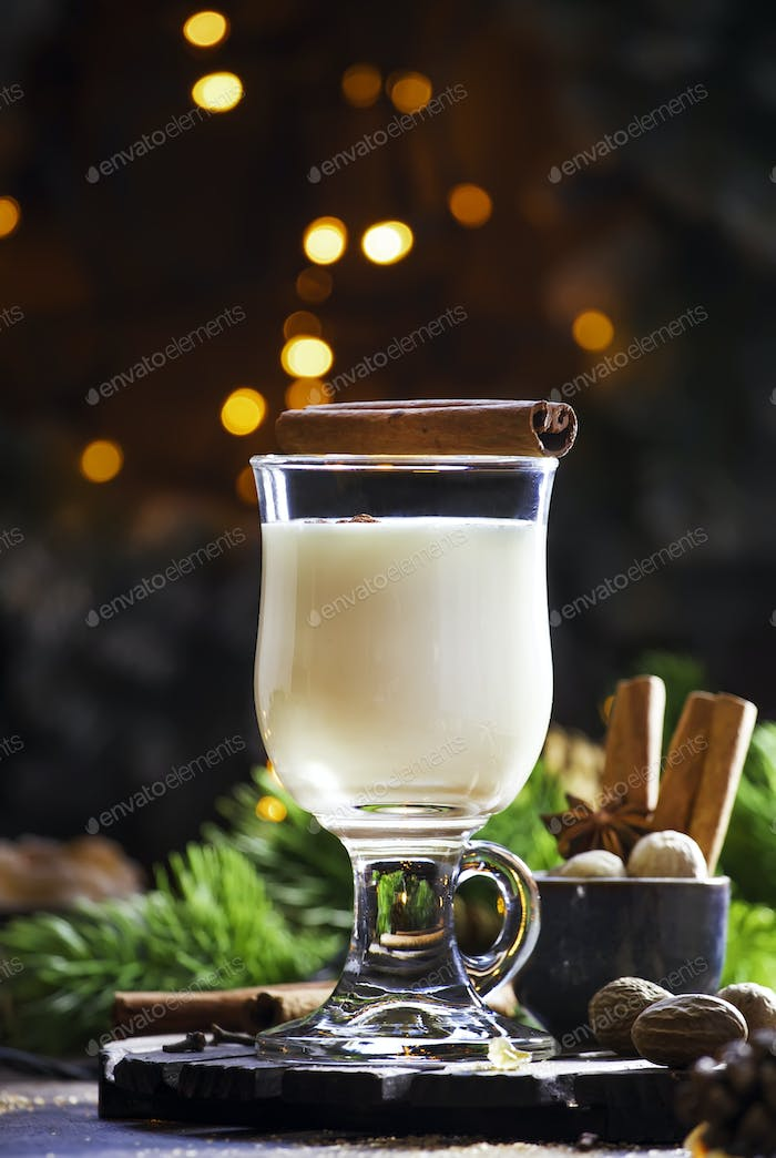 New Year or Christmas Eggnog cocktail - hot winter or autumn drink with milk, eggs and dark rum