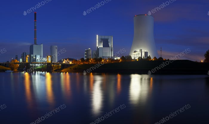 Power Stations At Night Panorama