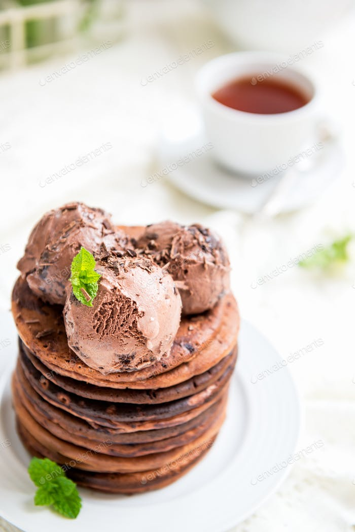 Stack of Homemade Chocolate Pancakes for Breakfast