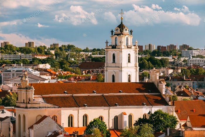Vilnius, Lithuania. View Of Bell Tower And Church Of St. Johns,
