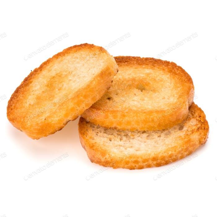 knuspriges Brot Toast Scheiben isoliert auf weißem Hintergrund Ausschnitt