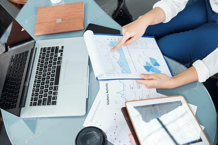 Entrepreneur analyzing report