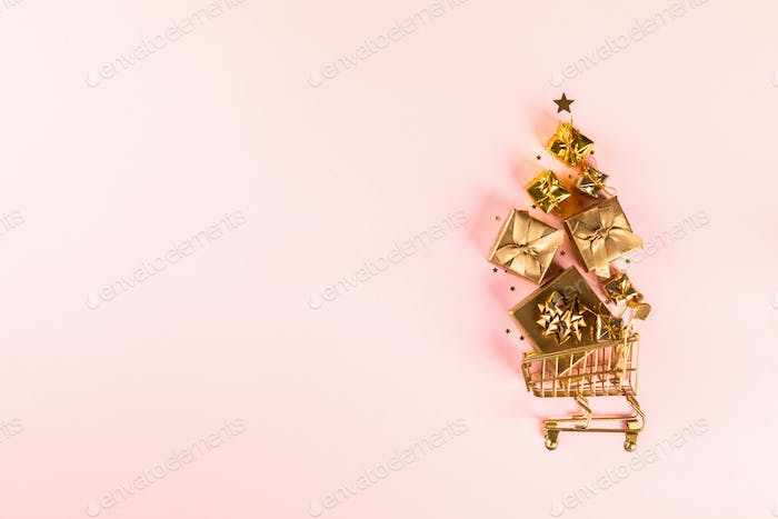 Shopping cart trolley basket Christmas  gifts