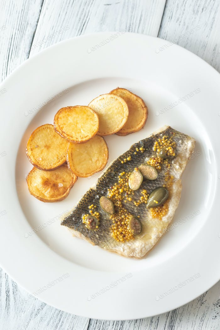 Baked sea bass with capers