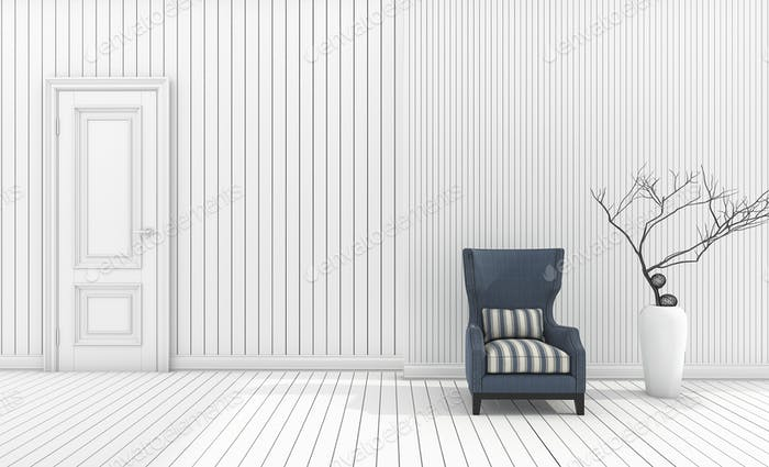 3d rendering minimal armchair with white vase in white living room