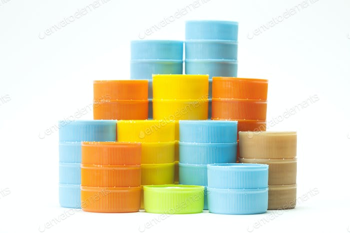 Colorful plastic bottle screw caps