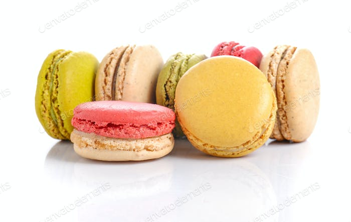 macaroons or macaron on white background.