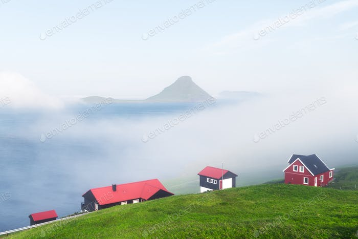 Foggy morning view of a houses with red roof