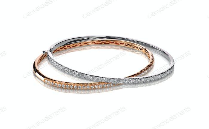Set von Diamant-Armbändern Rosé- und Weißgold