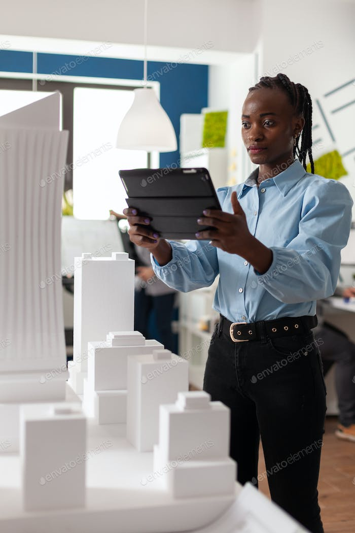Architect woman of african american ethnicity working