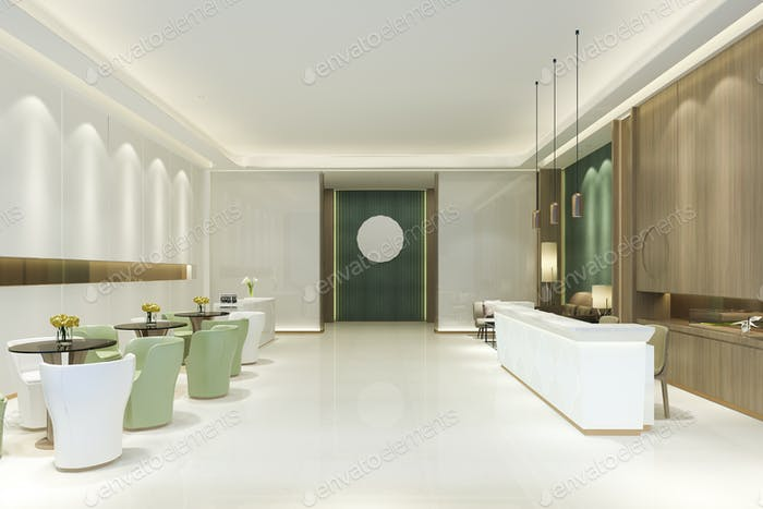 grand luxury hotel reception hall with green tone asian style
