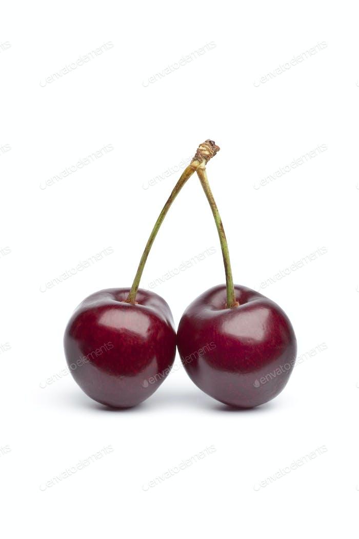 Fresh rRed cherry twin on stalks