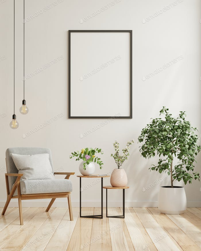Mock up poster in modern living room interior design with white empty wall.