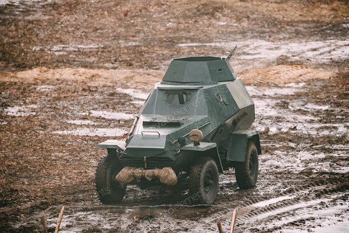 Russian Soviet Red Army Armored Soviet Scout Car In Autumn Count