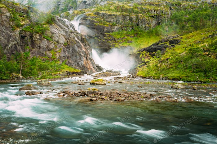Beautiful Waterfall In Valley Of Waterfalls In Norway.