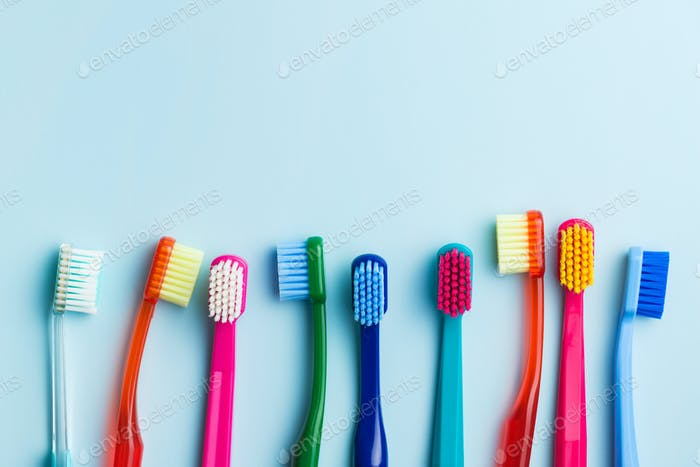 Colorful toothbrushes.