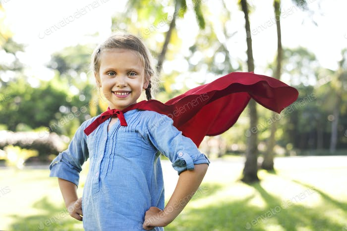 Superhero girl in the park