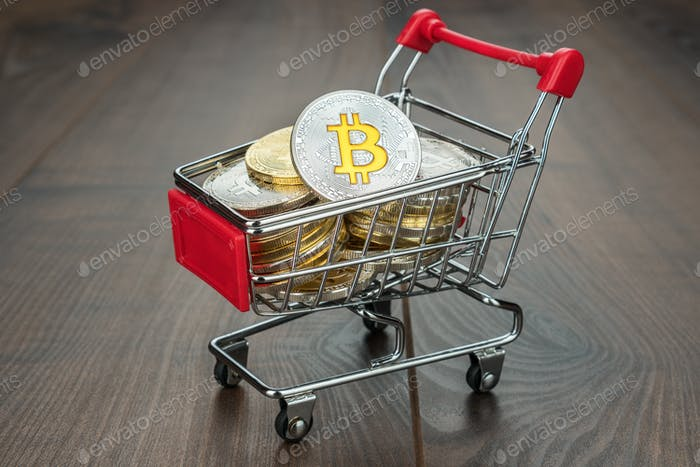 Shopping Trolley Full Of Bitcoins