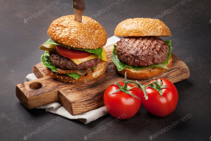 Tasty grilled home made burgers