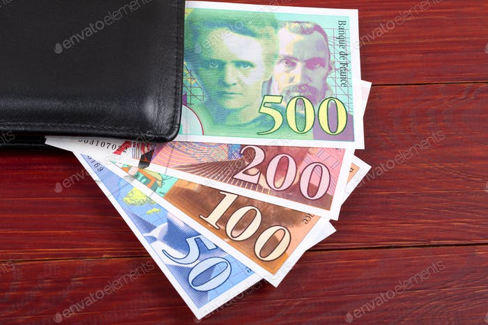 Money from France in the black wallet
