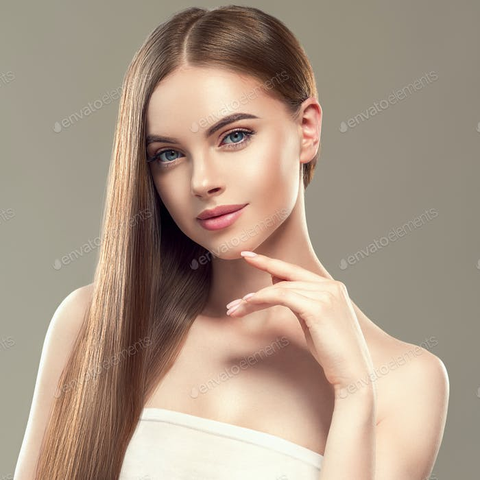 Beautiful long hair brunette woman with beauty hairstyle female model