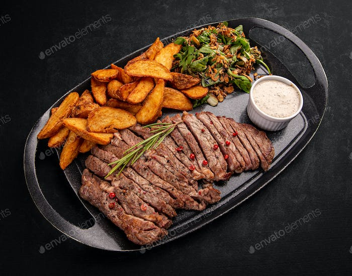 Sliced grilled beef steak