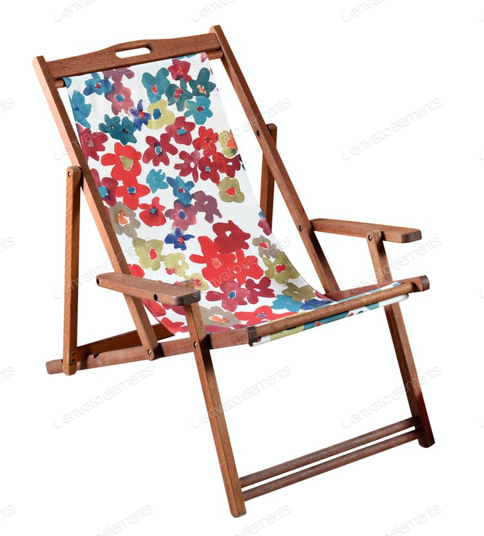 Colorful wooden beach chair isolated on white