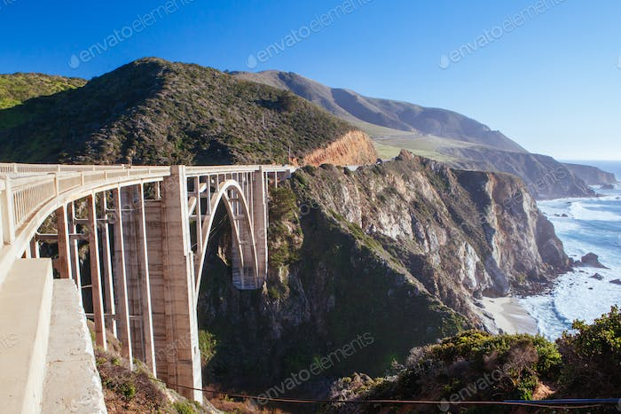 Bixby Bridge and Coastline at Big Sur USA