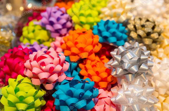 Colorful ribbon balls closeup, holiday decoration