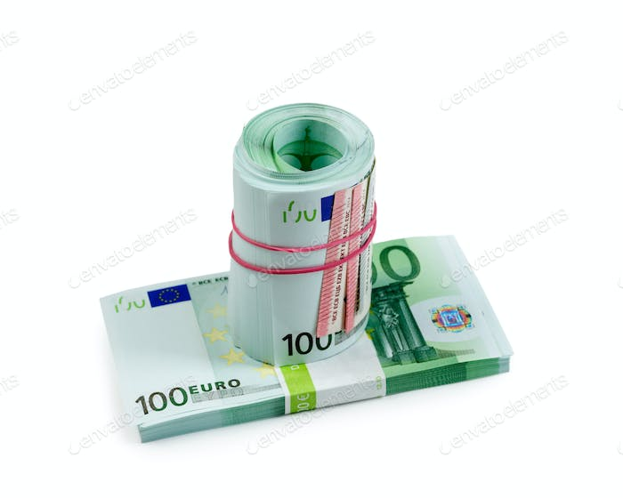 Euro banknotes on white isolate
