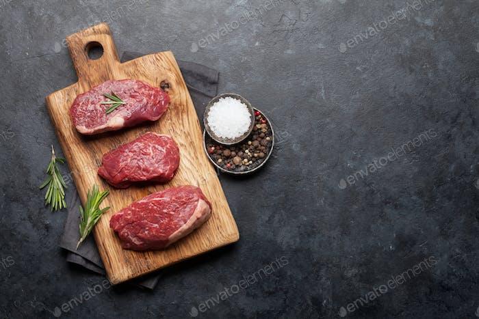 Fillet mignon raw beef steaks