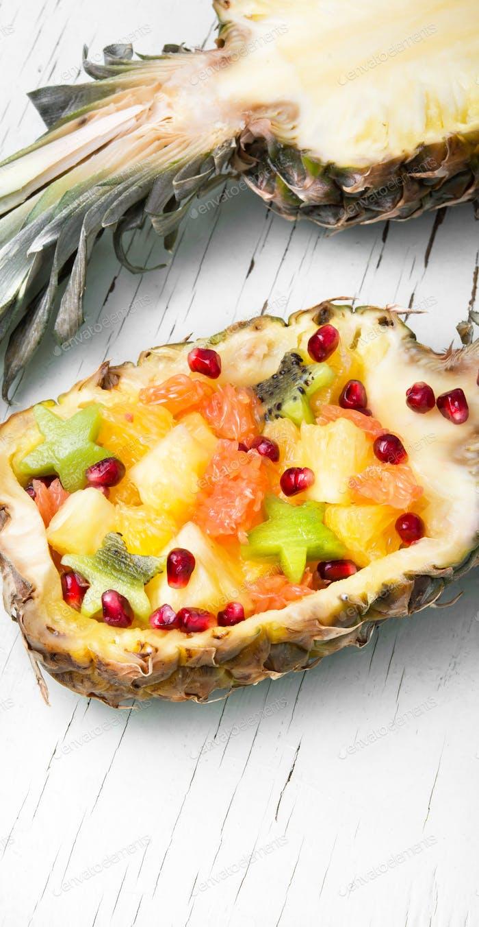 Fruit salad in pineapple