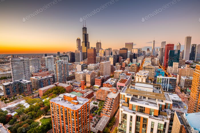 Chicago, Illinois, USA aerial cityscape towards Lake Michigan