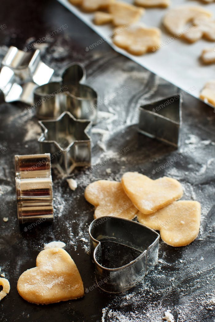 Close up of cookie cutters