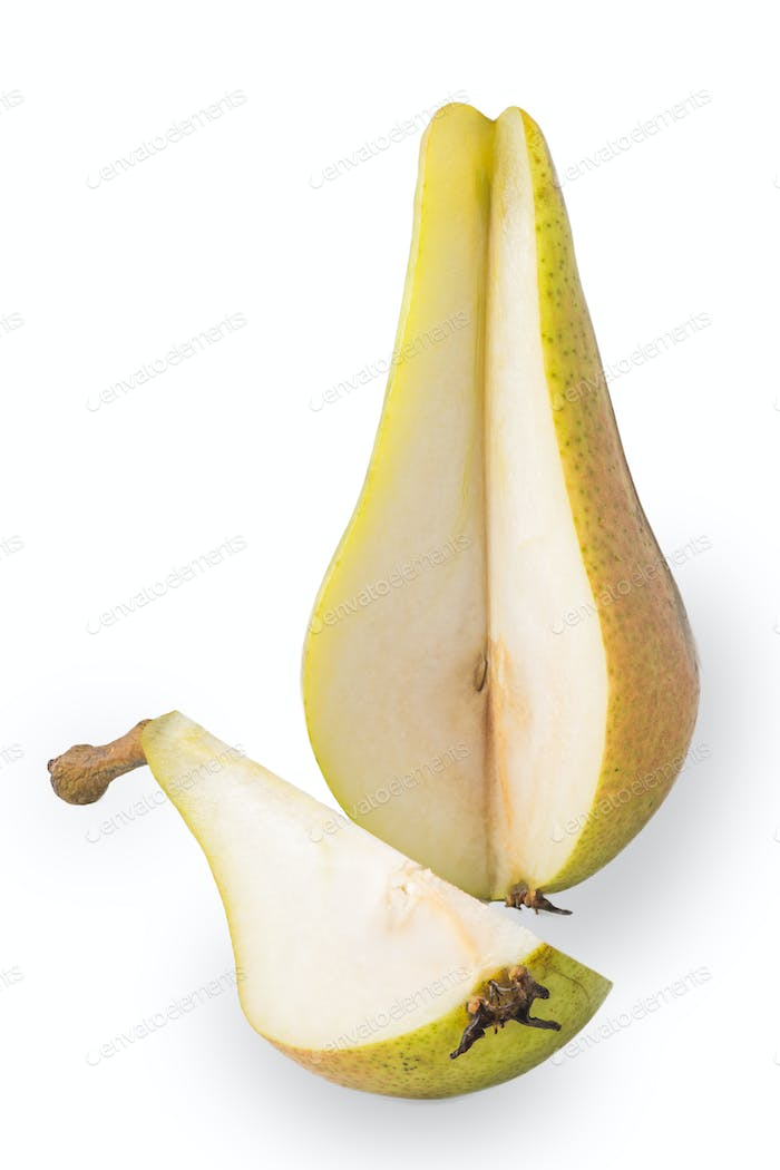 Sliced pear on the white background