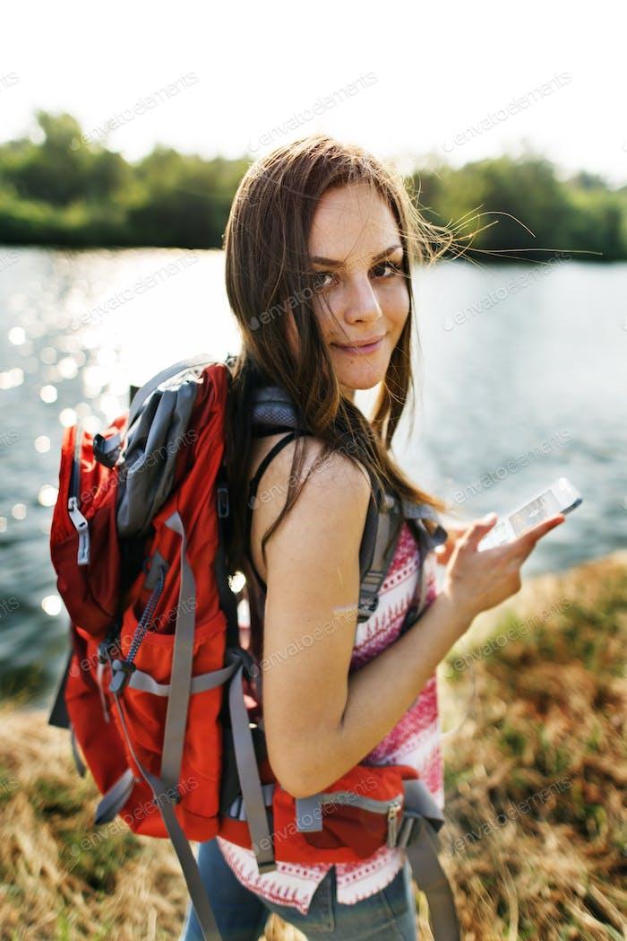 Explore Adventure Backpacker Hiking Trek Travel Concept