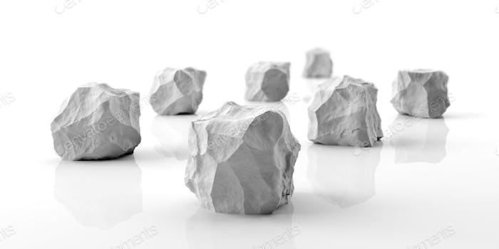 Marble stones on white background. 3d illustration