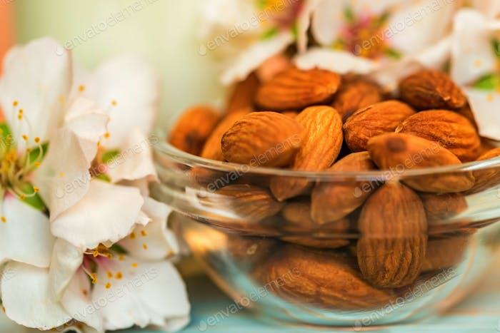 Almond with jar of almond milk and white flowers