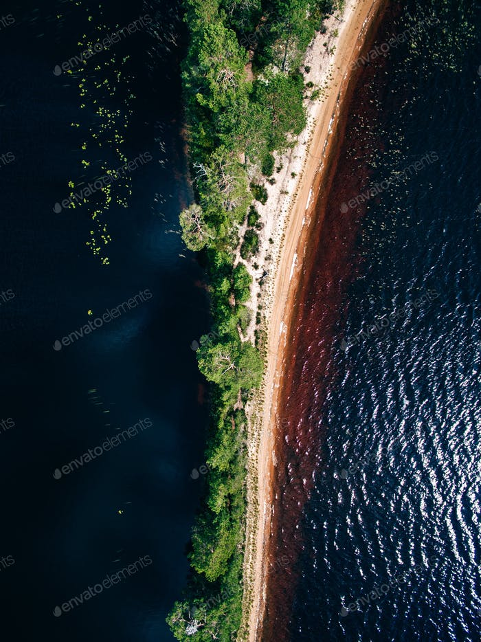 Aerial view of the sand spit with forest. Summer landscape with a blue lake in Finland