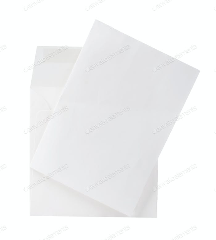 Mail envelope with letter close-up isolated on a white background.