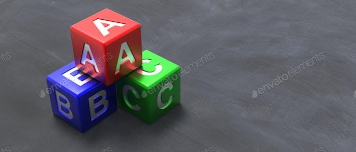 Abc colorful blocks on blackboard background. 3d illustration