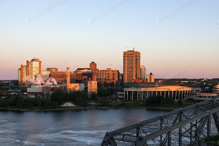 Alexandra Bridge and skyline of Gatineau