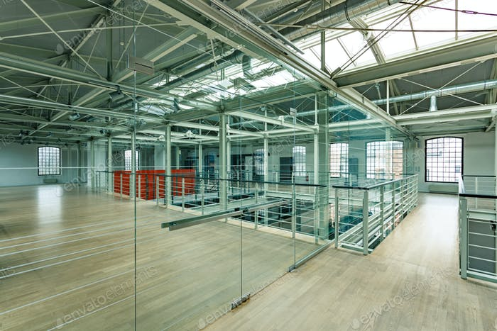 New industrial interior with windows