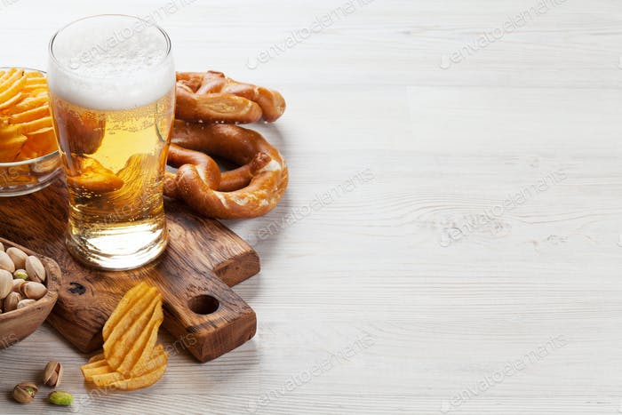 Lager beer and snacks