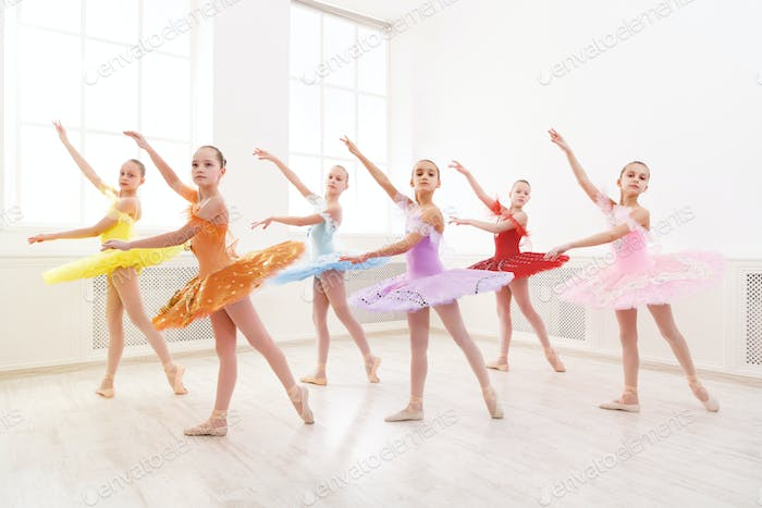 Group of young ballet dance students performing