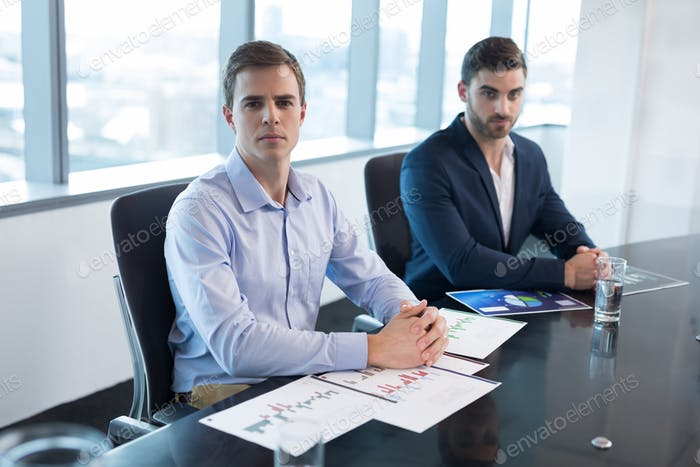 Portrait of male executives sitting at desk