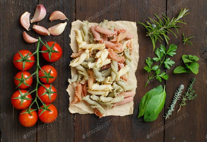 Tricolor pasta, vegetables and herbs